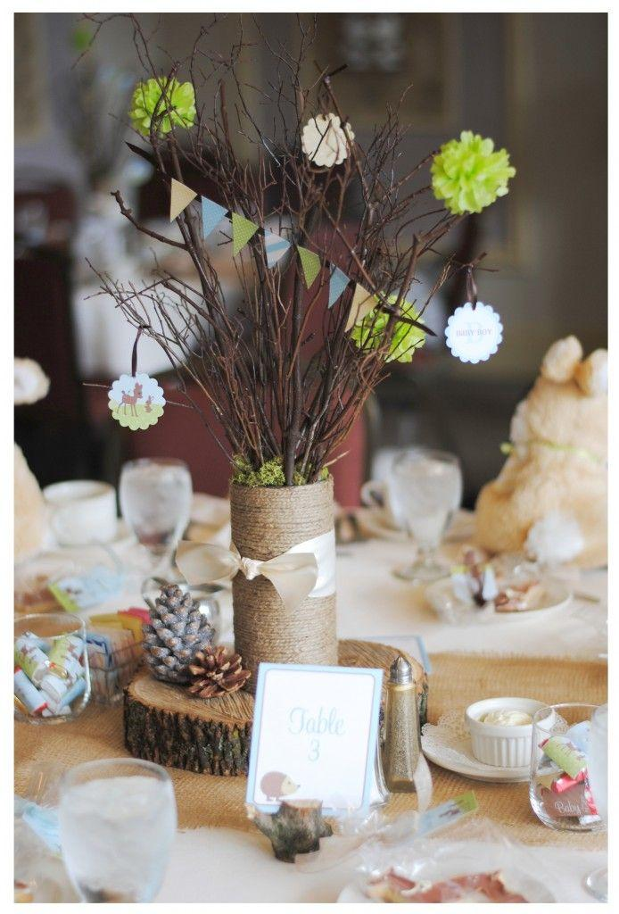 Baby shower centerpiece - handmade bouquet of branches