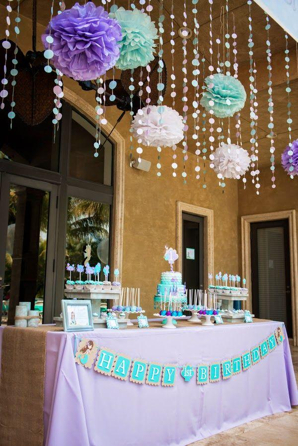 Baby shower decor - with paper lamp shades and garlands