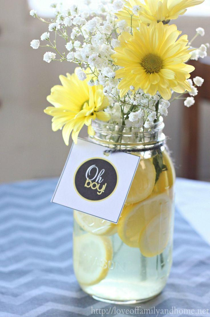 Baby shower flowers - in a jar