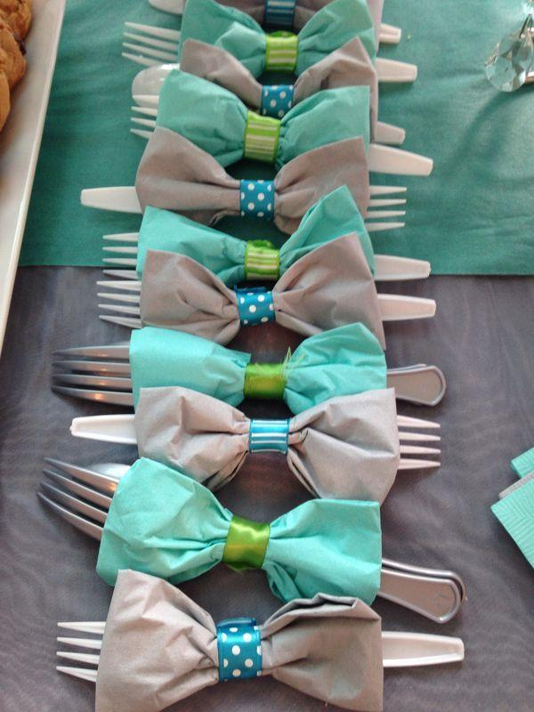 Baby shower forks - with ties