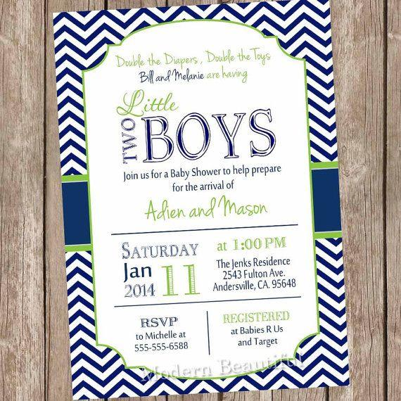 Baby shower idea for twin boys - blue invitation