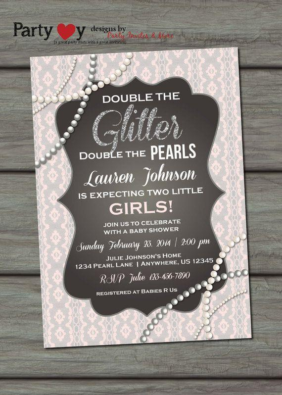 Baby shower idea for twin girls - pink invitation