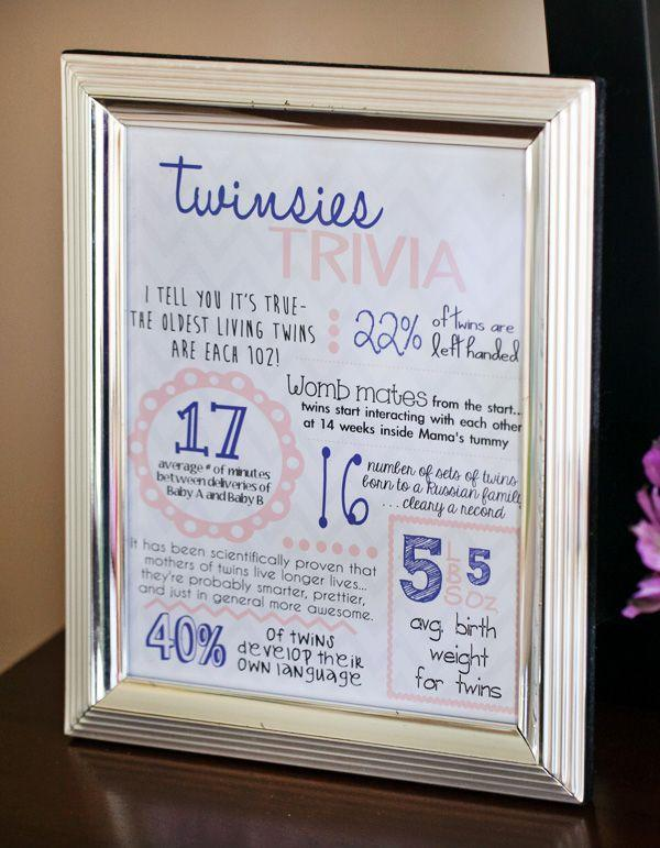 Baby shower idea for twins 1 - twinsies trivia