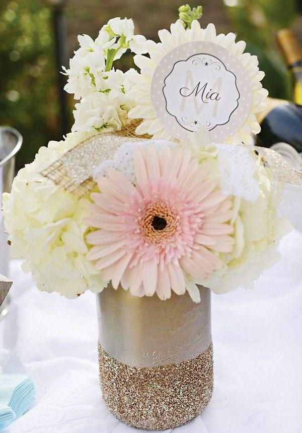 Baby shower mason jar 2 - with beautiful white flowers
