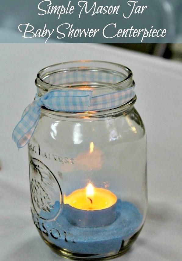 Baby shower mason jar 3 - with small blue candle