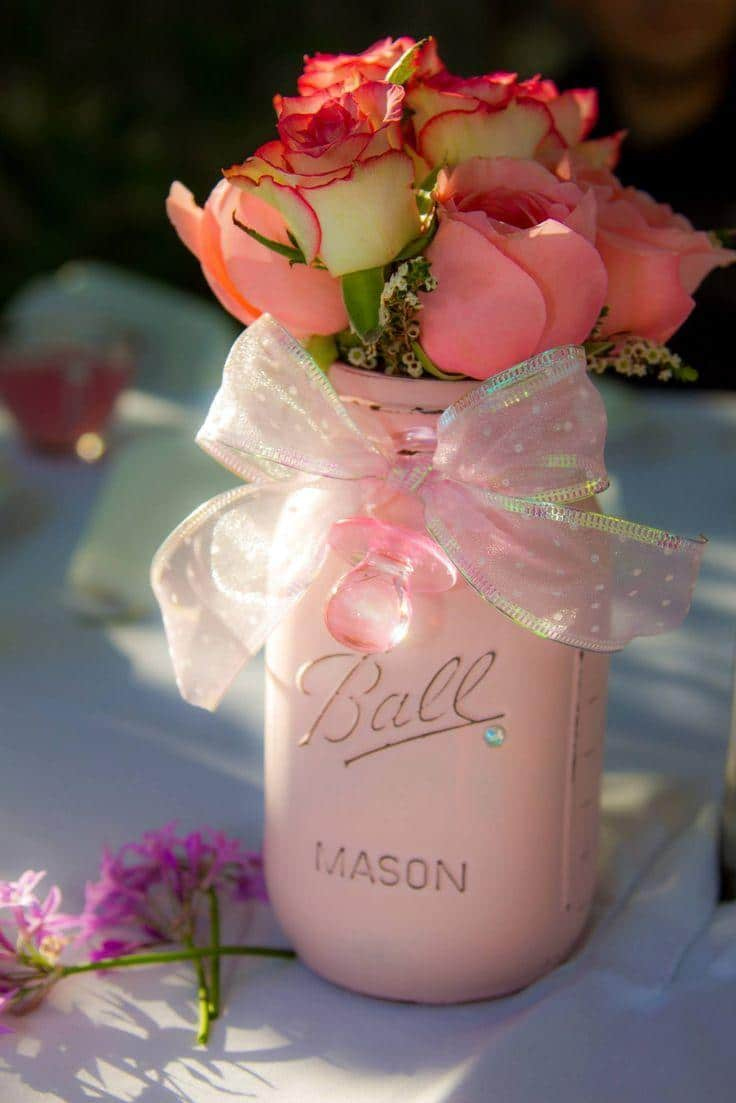 Baby shower mason jar - with red roses