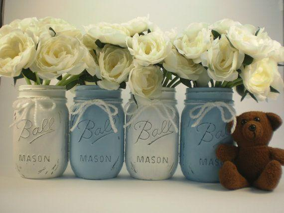 Baby shower mason jars 1 - with white roses in them