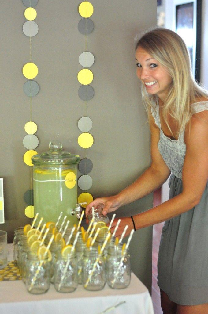 Baby shower mason jars - full of homemade lemonade