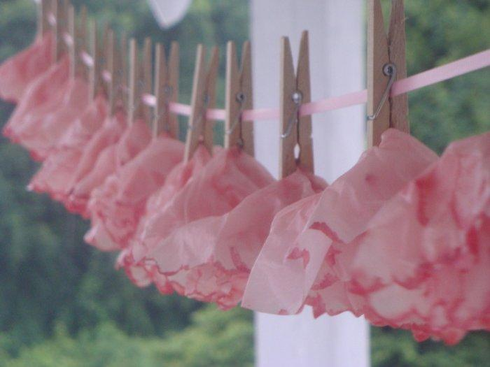 Baby shower outside garland - made of pink napkins