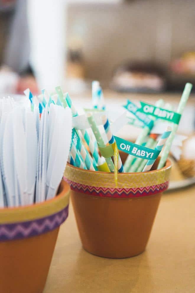 Baby shower pots - full of _Oh Baby_ sticks