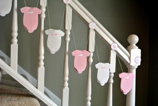 Baby shower staircase - with garland