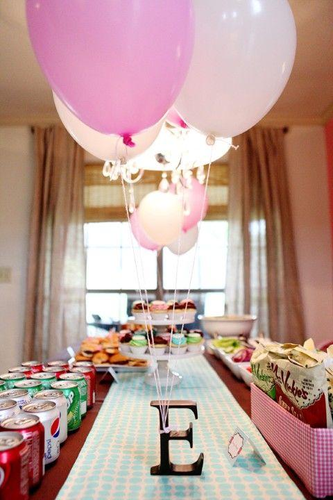 Baby shower table 2 - with pink ballons