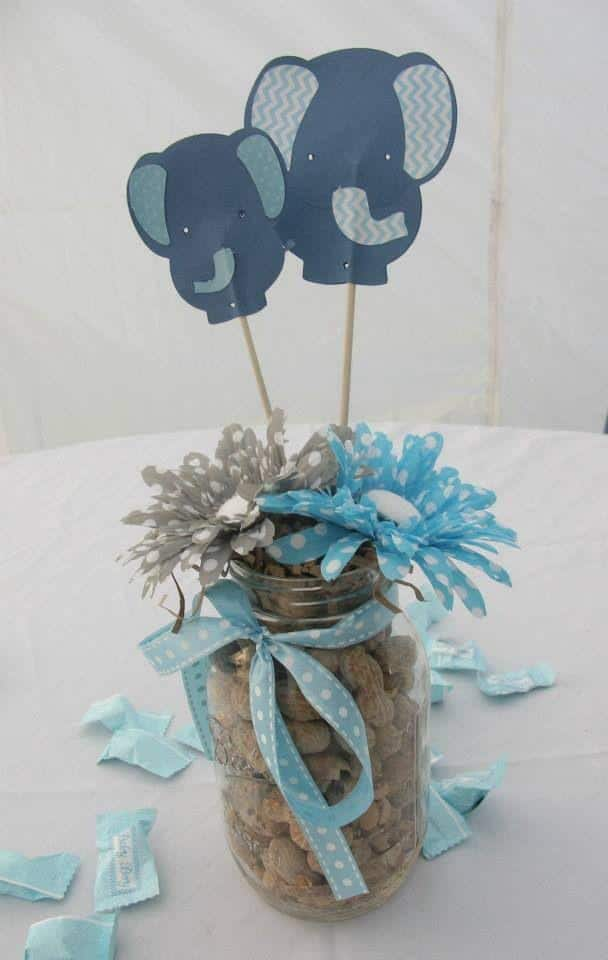 Baby shower table centerpiece - made of cardboard elephants