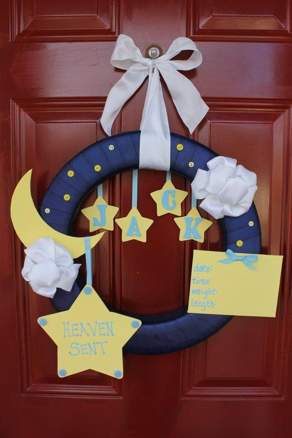 Baby shower wreath 10 - good night theme
