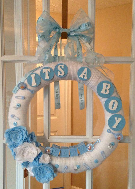 Baby shower wreath 12- it's a boy writing