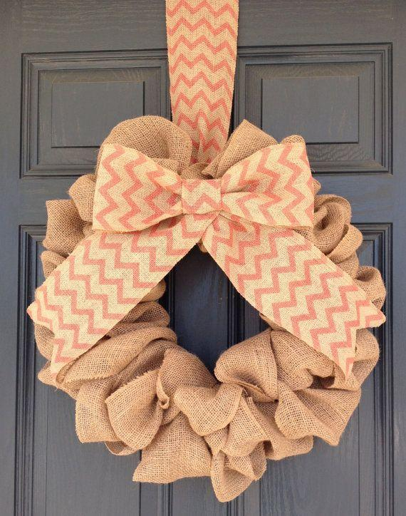 Baby shower wreath 18 - with linen ribbon
