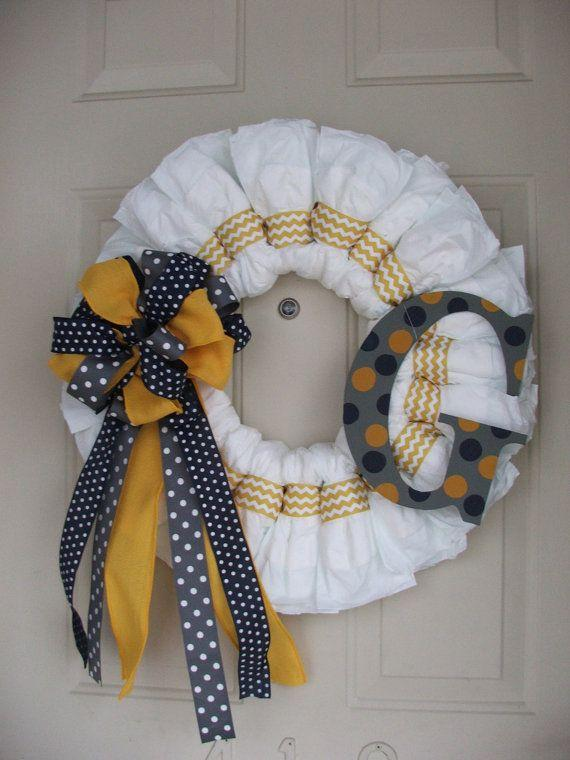 Baby shower wreath 19 - with blue dotted ribbon