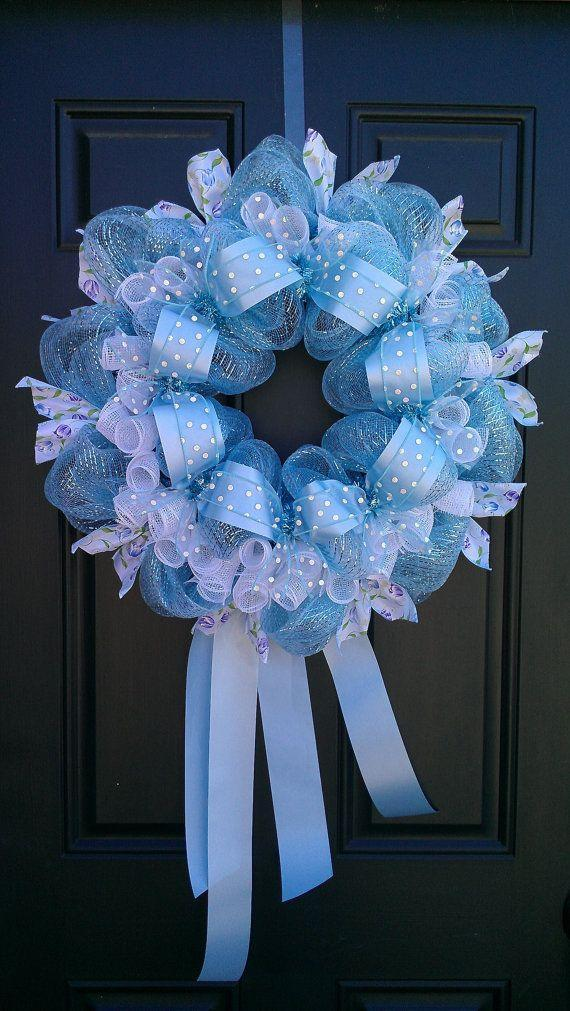 baby shower wreath 8 made of blue items