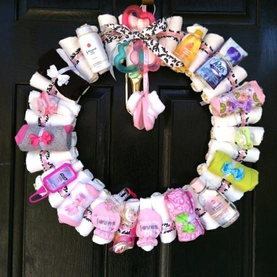 Baby shower wreath - on the front door