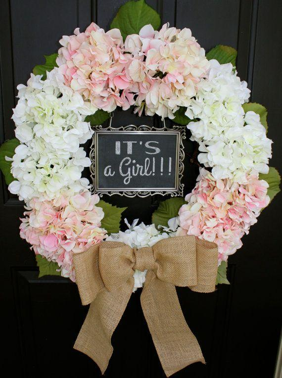 Baby shower wreath - with ribbon decoration
