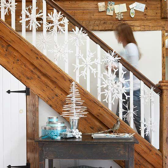 Banister Christmas garland 1 - with white snowflakes