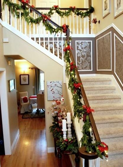 banister christmas garland 2 with red ribbons - Decorating Banisters For Christmas With Ribbon