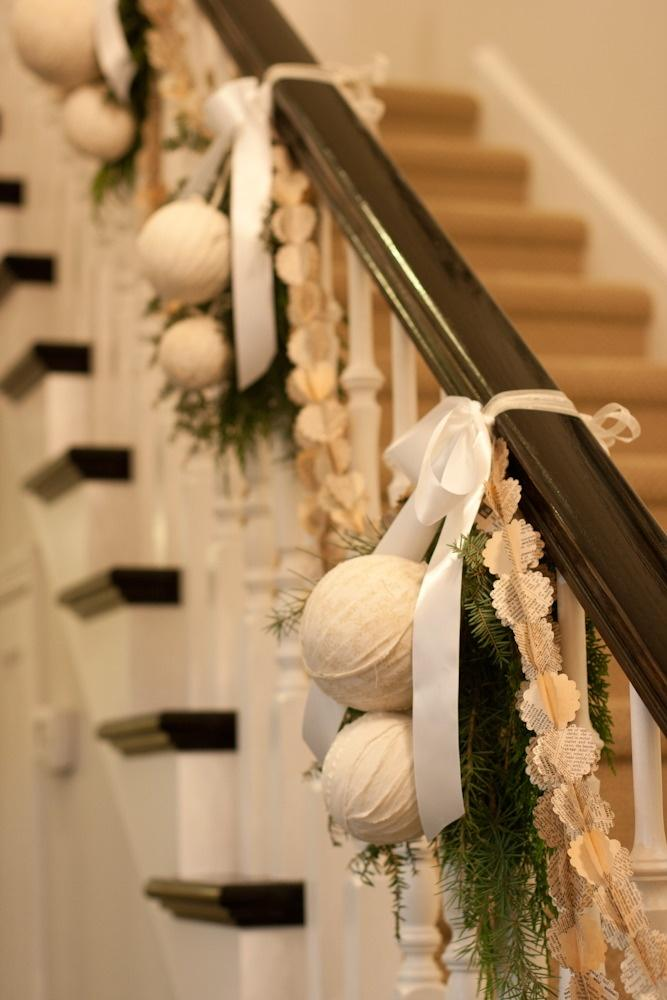 Banister Christmas garland 3 - with white ribbons
