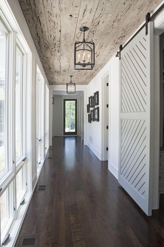 Barn sliding hallway door - in a British farmhouse