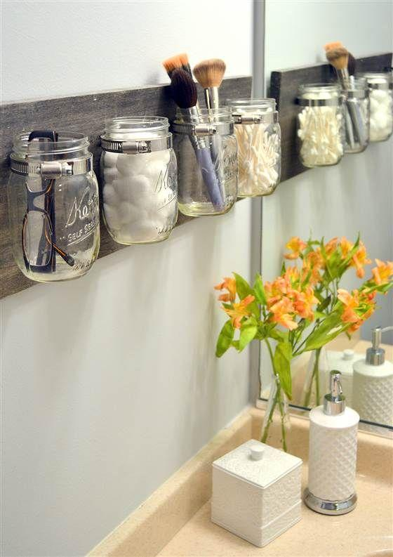 Bathroom mason jars - hanged on the wall
