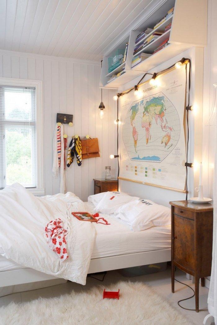 Bedroom Christmas Lights 1 - around a wall world map