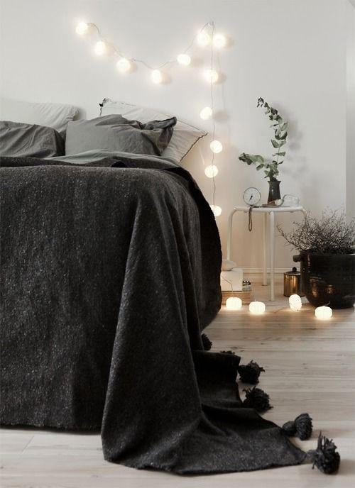 Bedroom Christmas Lights 11 - light bulb garland on the wall