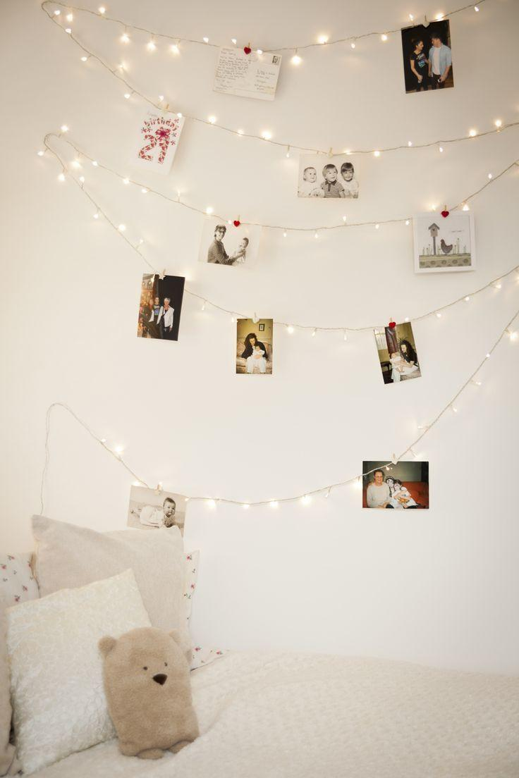 bedroom christmas lights with old photos on the wall - How To Install Christmas Lights
