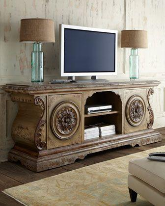 Bedroom chest for TV - in vintage ornate style