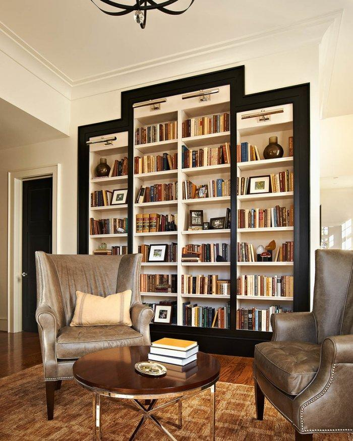 Delightful Black Bookcase Design   With White Shelves