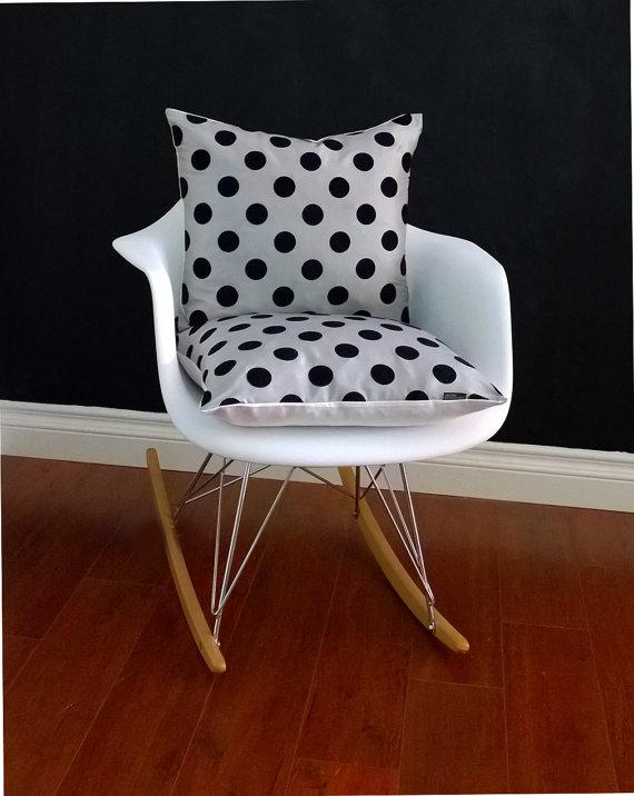 Black dotted chair cushion - for seat and rest