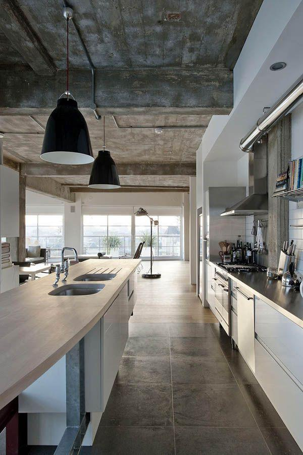 Black industrial kitchen pendants - in a luxurious condo