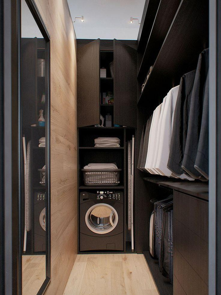 Black laundry room - with narrow design