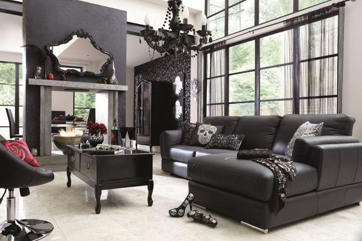 Black living room paint - and black sofa