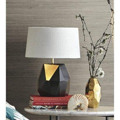 Black modern lamp base - with white shade