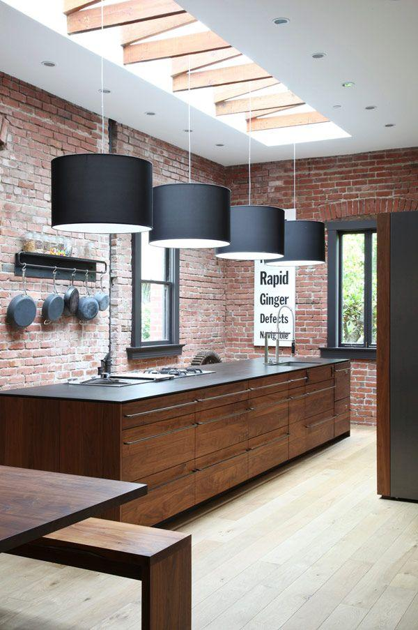 Black modern lamp shade - used in a NY loft kitchen