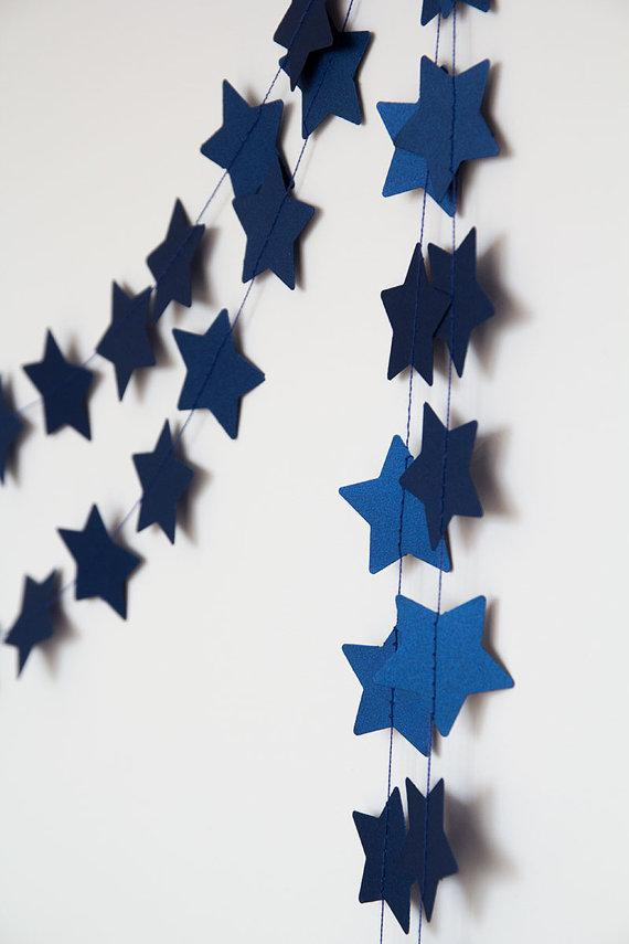 Blue Christmas garland - paper stars