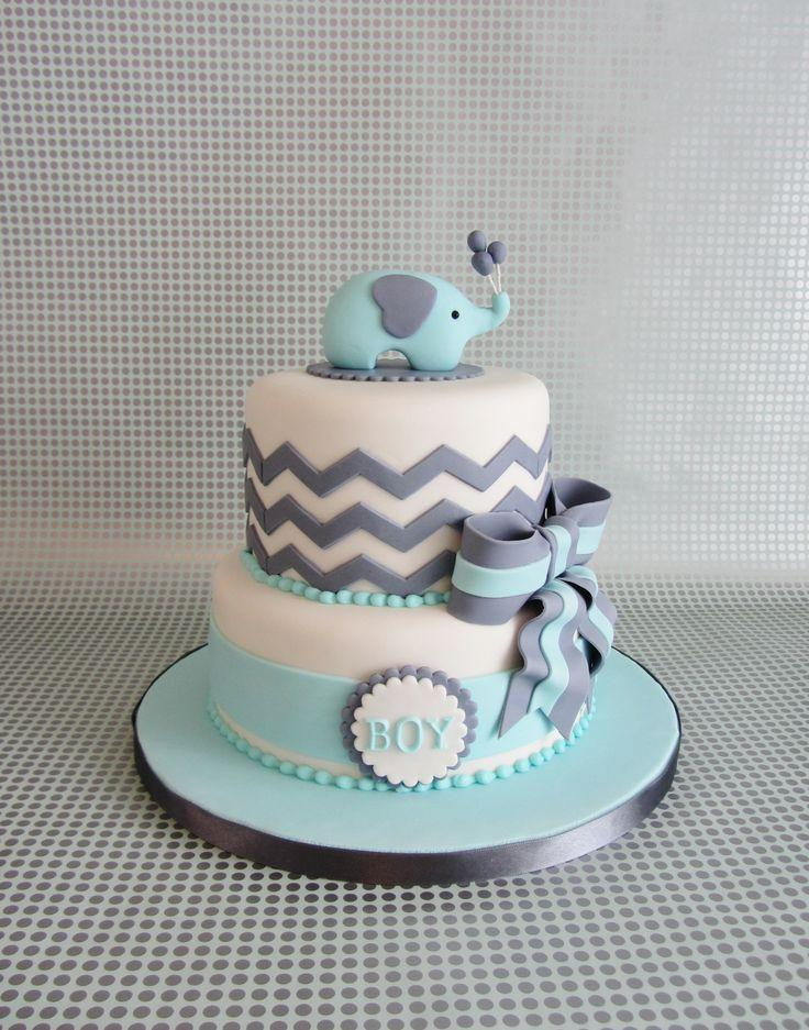 Blue baby shower cake - with elephant