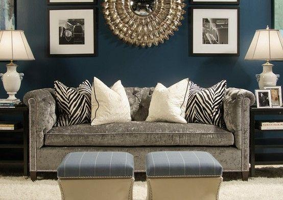 Blue Living Room Paint 5   And Grey Modern Couch