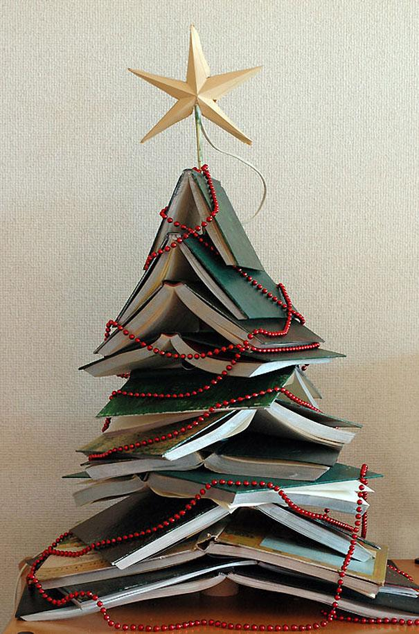 Books Christmas tree - made of piled notebooks