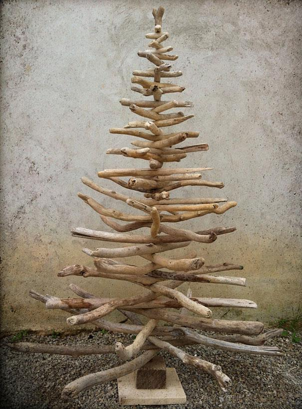 brahces christmas tree made of dried branches