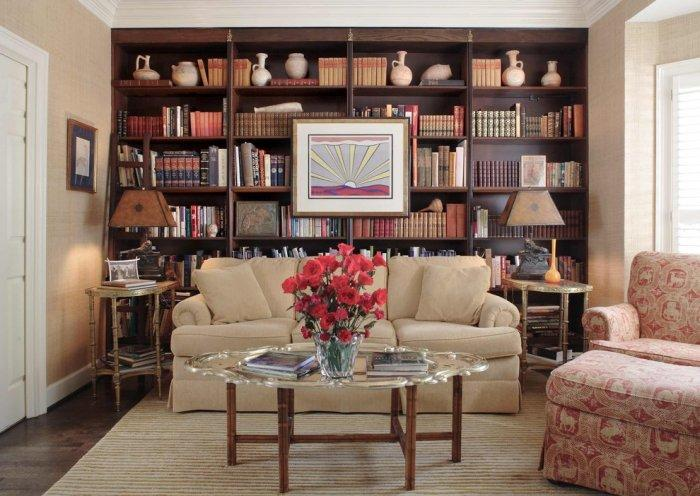 Brown bookcase design - in a traditional living room