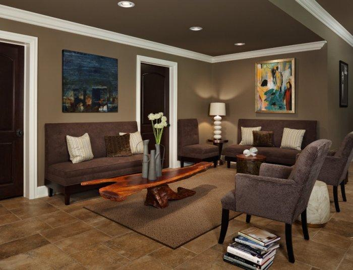 Brown sofas - and coffee table