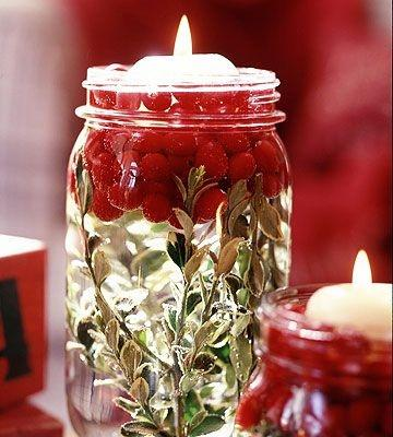 Candle Christmas jar - with cherries inside