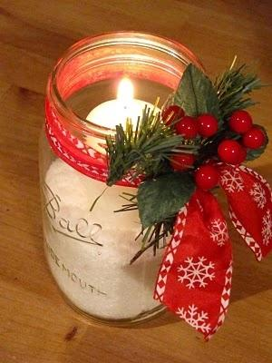 Candleholder Christmas jar - with beautifulred ribbon