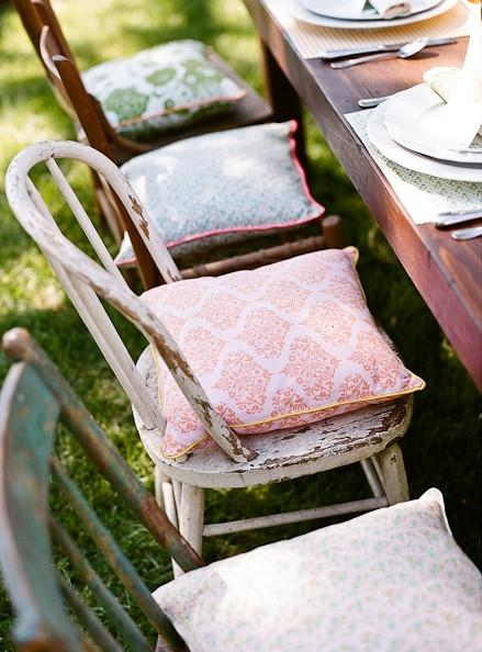 Chic chair pads - outside at the table